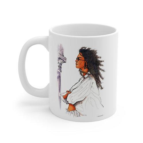 SancarolArt - White Ceramic Mug (Sancarol Lady)