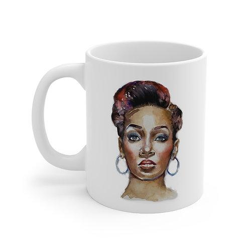 SancarolArt - White Ceramic Mug (Monica)
