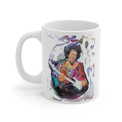 SancarolArt - White Ceramic Mug (Hendrix with Background)