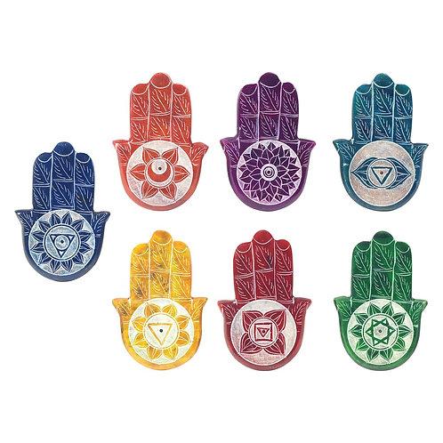 """Porta incienso""""Mano de Fátima"""", disponible en los colores de las 7 Chakras."""