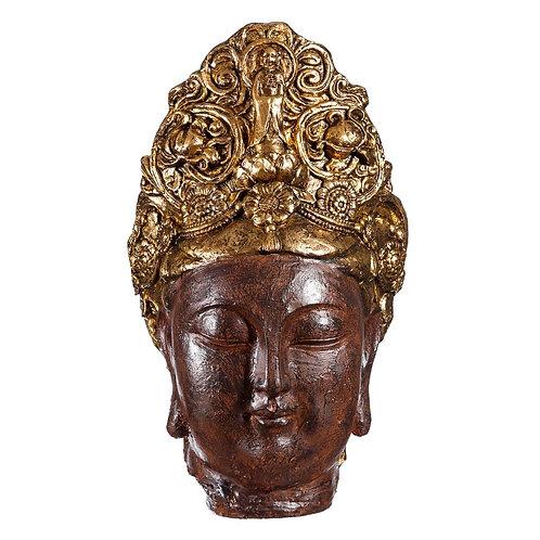 Figura de cabeza Buda, color marrón dorado