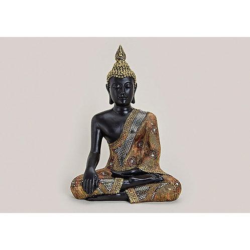Buda sentado negro/dorado