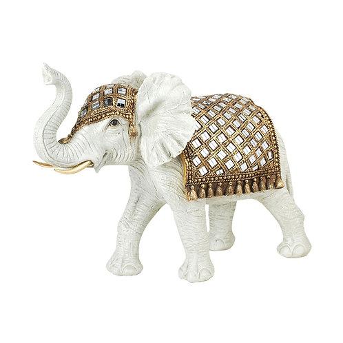 Figura de Elefante, color blanco y dorado