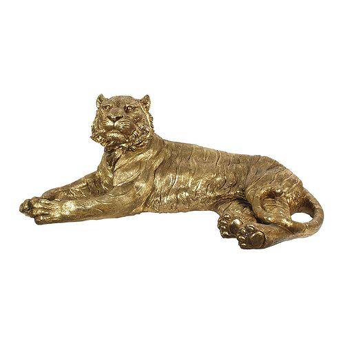 Figura de tigre tumbadocolor dorado
