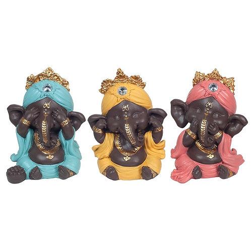 """figuras de Ganesh """"No ver"""" - """"No oir"""" - """"No hablar"""""""