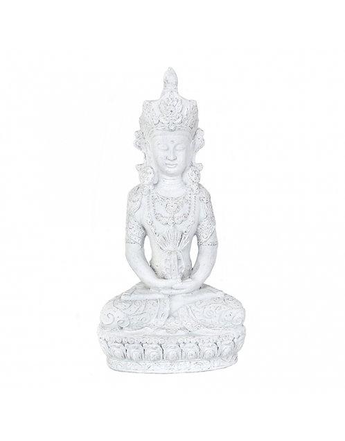 Figura de Buda meditando, color blanco