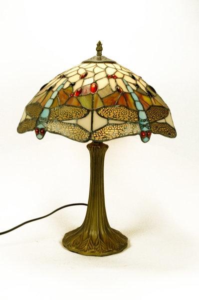 Lámparaestilo Tiffany de sobremesa libélulas