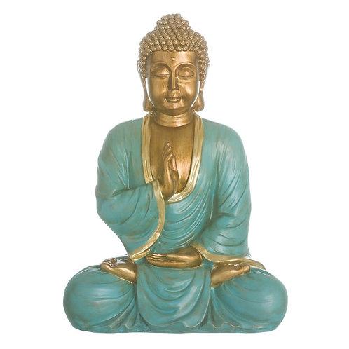 Figura de Buda, color verde y dorado