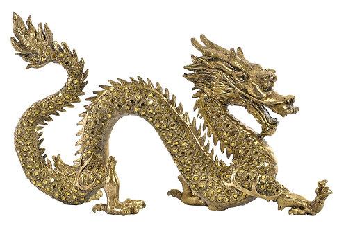 Figura de dragón chino, color dorado con espejitos