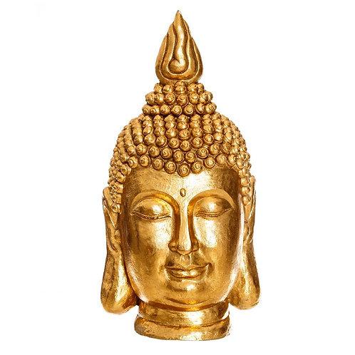Figura de cabeza Buda, color oro