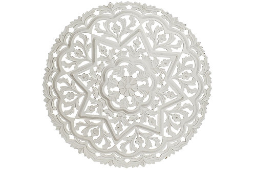 Talla de madera color blanco envejecido