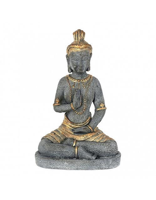 Figura de Buda, color gris y dorado