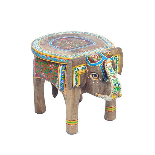 Mesita auxiliar con forma de elefante, multicolor. Pintada a mano.
