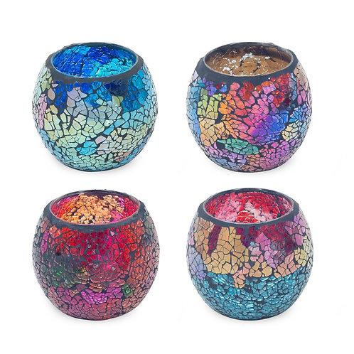 Portavelas cristal mosaico, disponible en cuatro colores.