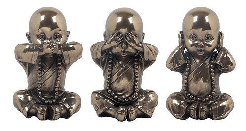"""figuras de niños monjes """"No oir"""" - """"No hablar"""" - """"No ver"""""""