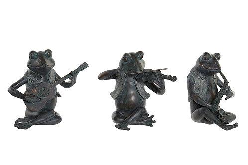Surtido 3 Figuras Ranas Musicos 23 cm
