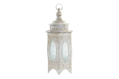 Lámpara de estilo árabe de sobremesa, color blanco envejecido.