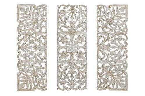 Setde 3 tallas de madera color blanco y dorado