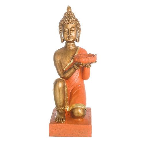 Figura de Buda, color naranja y dorado