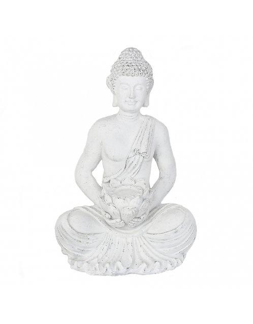 Figura de Buda sentado, color blanco