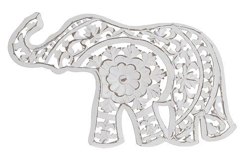 Talla de madera elefante color blanco
