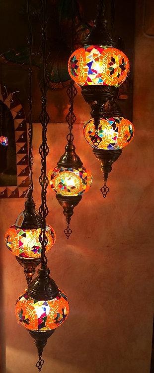 Lámpara turca de colgar 5 globos