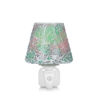 Punto de luz con pantalla recubierta de mosaico realizado en cristal de diferentes colores