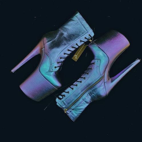 Bota em Couro Glow Azul/Roxo