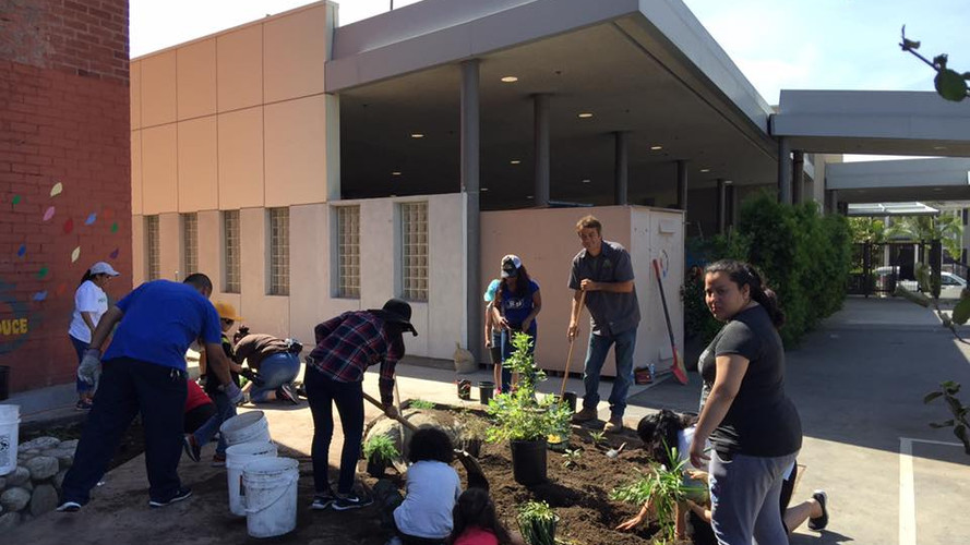 Wilshire Park Elementary, the community completes planting the garden for Earth Day!