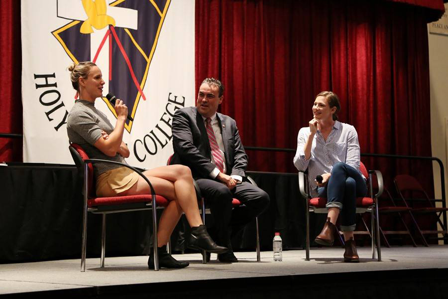 Cate and Bronte Campbell visit Holy Spirit College, booked through PickStar