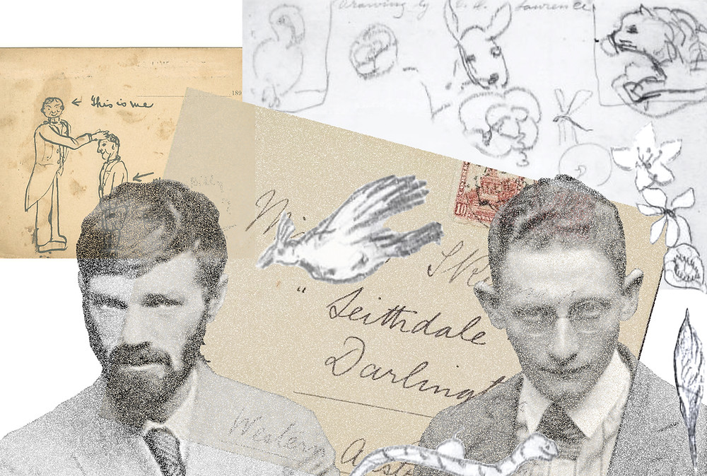 Composite of characters and doodled correspondence