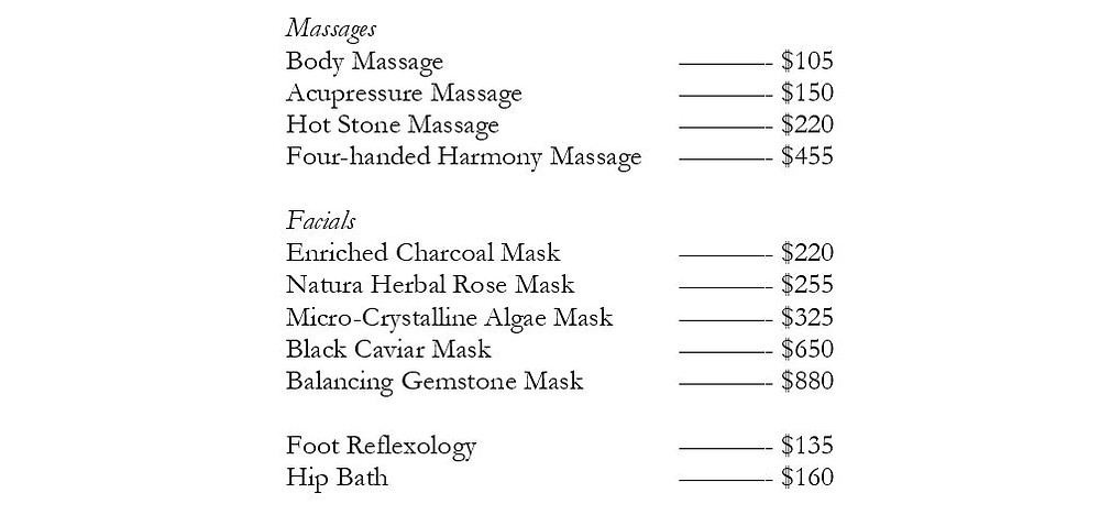 List of expensive spa services
