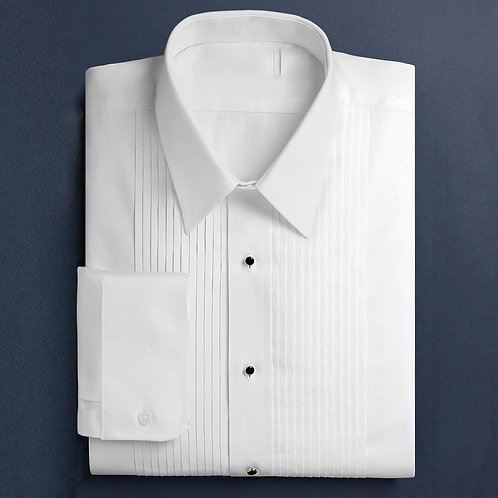 "Laydown or Wingtip collar shirt with 1/4"" Pleated"