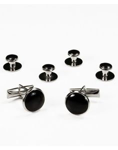 Black Stone Links & Studs