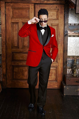 Red Tuxedo/Dinner Jacket with Black Satin Shawl Lapel
