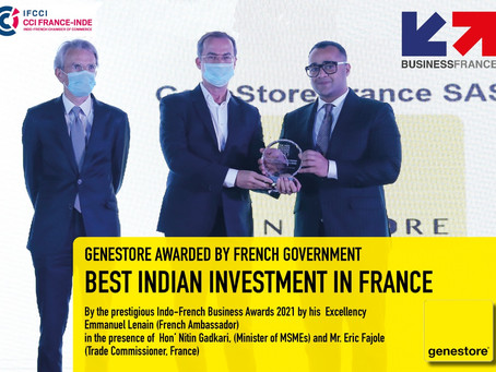 Boost to France India Relations: GeneStore awarded as best investment in France