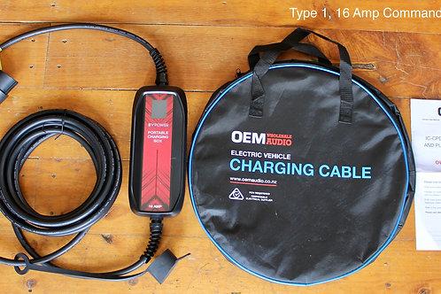 Type 1, 16 amp OEM with LCD EVSE - Caravan/ commando plug