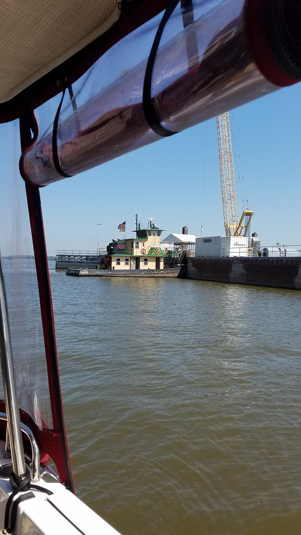 "Sharing the lock with the ""small "" tug, the Sir Larry J"