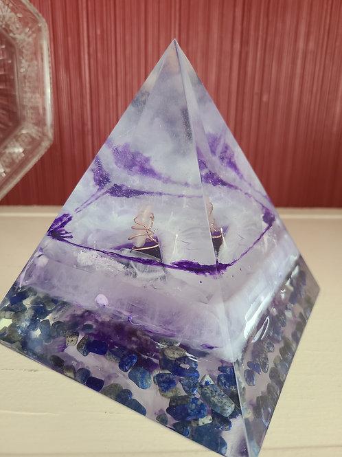 Lapis and Amethyst Orgone Pyramid
