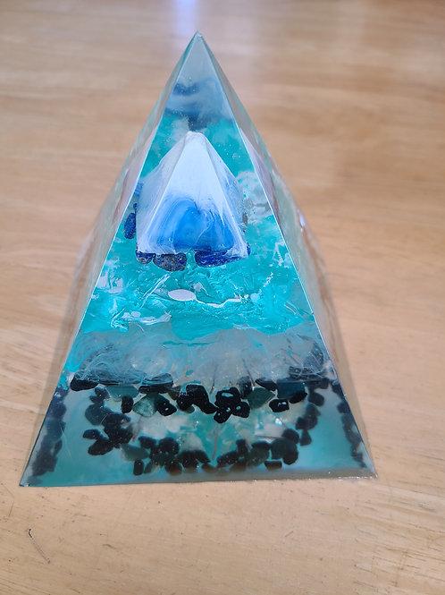 Lapis, Bloodstone and Citrine Orgone Pyramid