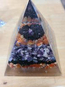 Large Blue Sodalite and Amethyst Orgone Pyramid