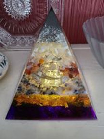 Lighted Large Clear Quartz and Carnelian Orgone