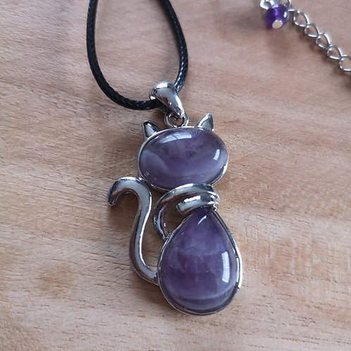 COLLIER CHAT EN AMETHYSTE