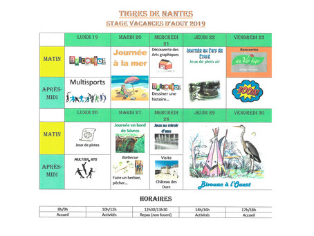 S'inscrire au stage Vacances des Tigres: stagestigresdenantes@gmail.com - 07 86 59 65 20