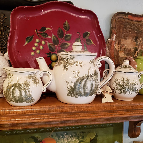 Maxcera Pumpkin Toile Teapot with Cream and Sugar