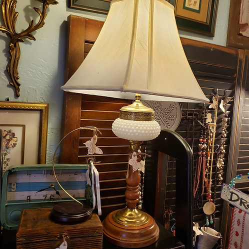 Milk Glass and Wood Lamp