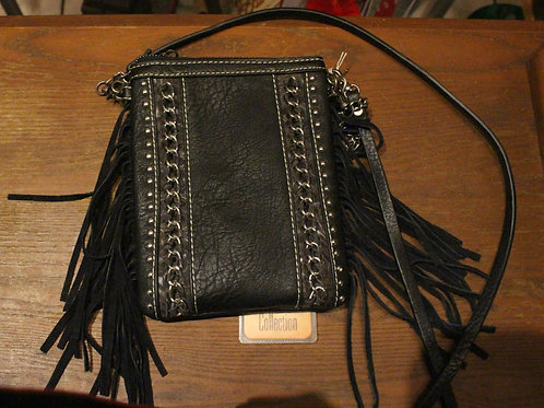 Black Leather Cell Phone Purse