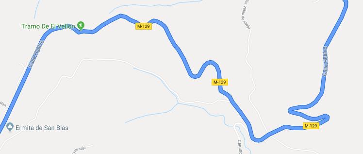 Tramo de la m129 a su paso por la localidad del vellón, madrid