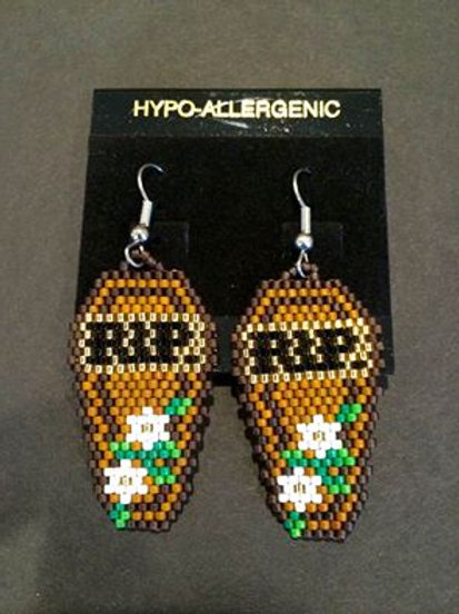 Hand Beaded Coffin RIP Earrings