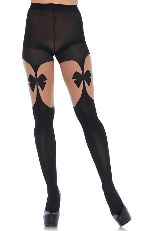 Illusion Bow Garterbelt Tights